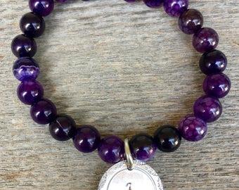 Purple Beaded Bracelet, Purple Monogram Jewelry, Beaded Jewelry with Initial Monogram, Customizable Initial Jewelry, Purple Jewelry for Her