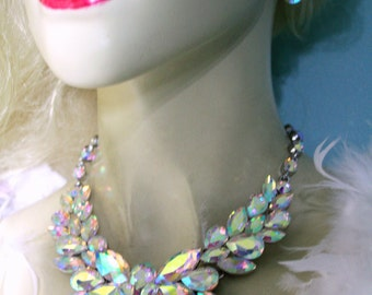 AB Rhinestone Crystal Choker Statement Necklace Earring Set Pageant Prom