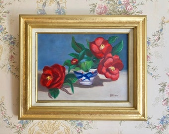 Framed Original Oil on Linen: Still Life -  Camellias with Oriental Bowl