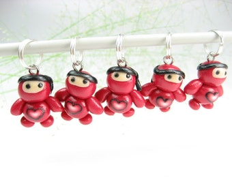 Red Ninja Stitch Markers 5x red baby knitting accessories polymer clay miniature Japanese charms gift for knitters cute unique gifts funny