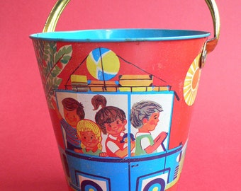 Vintage DDR Tinplate VACATION Sand Pail 1960's