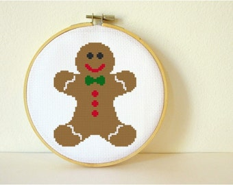 Counted Cross stitch Pattern PDF. Instant download. Gingerbread Man. Includes easy beginner instructions.