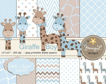 50% OFF Giraffe Boy Baby Blue Shower Digital Papers and Clipart, Boy Baptism, Dedication, Birthday, Baby Giraffe Clipart, Giraffe Print, Ani