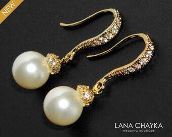 Bridal Pearl Earrings Pearl Drop Vermeil Gold Cz Earrings Swarovski 8mm Ivory Pearl Gold Wedding Earrings Small Ivory Pearl Bridal Earrings