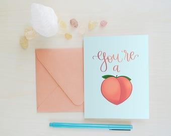 Greeting Card, Funny Card, Emoji Card, Peach Emoji, Butt Emoji, Funny Greeting Card, Emoji, Peach: You're a Peach Butt