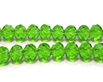 Facettierte Glas Briolette Perlen, Rondelle 8mm - Peridot