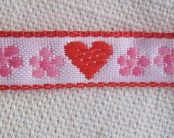 Hearts and Blooms woven jacquard ribbon Pink and RED