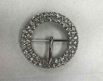 Round Crystal Buckle - Rhinestone Belt Buckle - Diamante Buckle For Bag
