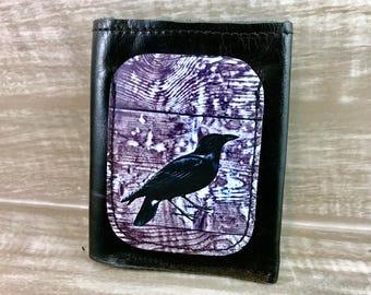 Leather Billfold Unisex Mens Wallet (Zipper Pocket) Raven Digital Photo Print on 100% Genuine Leather/ Black