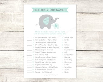 celebrity baby names matching game card printable elephant baby shower DIY sage green elephants baby shower digital games - INSTANT DOWNLOAD