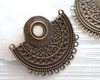 Large antique multi strand crescent connector pendant, tribal pendant, antique gold, rustic metal collar, crescent, focal pendant, tribal