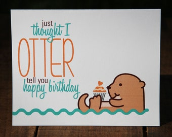 Swimming Otter Birthday Card, Happy, Cupcake