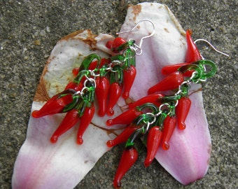 """Red Hot Chili Pepper Earrings, Sterling Silver, 3"""" Long, Artisan Hand Blown Lampwork Glass Pepper Beads Day of the Dead Jewelry Pepper Beads"""