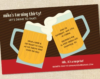 Sweet Wishes Cheers with the Beers Birthday Invitations - PRINTED - Digital File Also Available