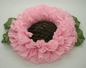 Large Pink Ribbonwork Flower Applique