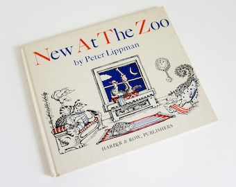 New At The Zoo by P. Lippman 1969 VGC Hc, Zoo Animals Attempt To Help A New Zoo Animal To Fall Asleep, Vintage 1960s Childrens Book