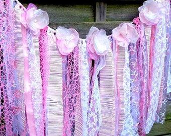 Fabric Garland /Lace Garland /Wedding Ceremony Backdrop/ Wedding Bunting/Cake Smash Prop/ Baby Shower Decor/ blush