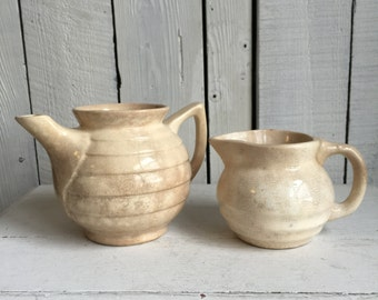 Vintage Bauer Ringware Teapot and Creamer -  Pottery - White Distressed Ironstone China