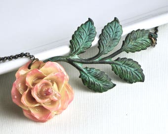 Preserved Rose Necklace - Cream and Pink Rose, Real Rose Necklace, Flower Jewelry, Verdigris Brass, Floral Jewelry, Botanical Jewelry