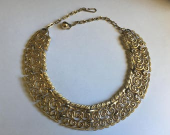Vintage Egyptian Revival Gold Toned Collar Choker Necklace 1322