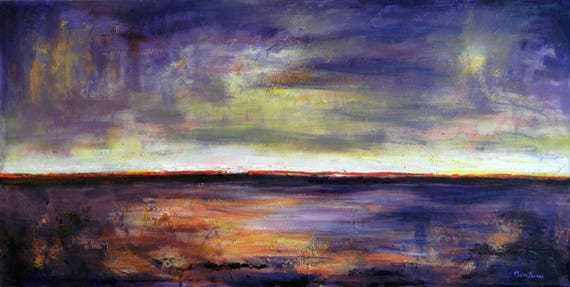 PURPLE Art Abstract Expressionist ORIGINAL Painting HORIZON - 48x24 by BenWill