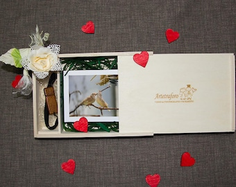 """X6 Photos 4 """"x6""""-15 boxes pictures with accommodation pendrive packaging wooden Wedding Brides photo"""