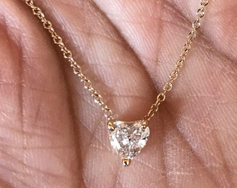 Diamond heart .42 carat diamond 14K solid yellow gold heart shape solitaire diamond necklace pendant G SI1 excellent moms