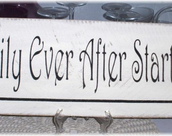 Happily Ever After Starts Here Primitive White Wood Fence Board Sign,Wedding, Romance Sign