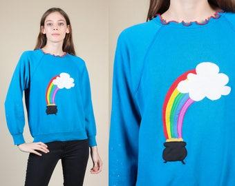 90s Retro Rainbow Sweatshirt - XS // Vintage Pot Of Gold Ruffle Collar Pullover