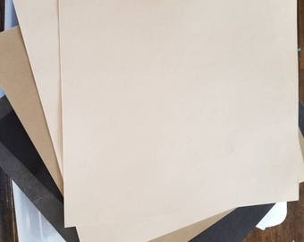 Set of 5 papers - cream, black, and gray - great for scrapbooking, mixed media, cards, etc.