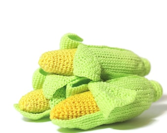 Crochet Corn Cob Crochet vegetables Montessori toys Play Food Kids Toy Play Kitchen food Kitchen decor Toys for toddlers Eco friendly