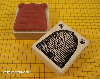 Bee Skep Stamp / Invoke Arts Collage Rubber Stamps