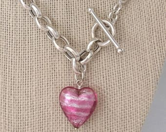 "Vintage Pink Heart Toggle 18"" Italy 925 Sterling Silver Rolo Curb Chain Toggle Clasp with Pink Glass Heart Pendant 
