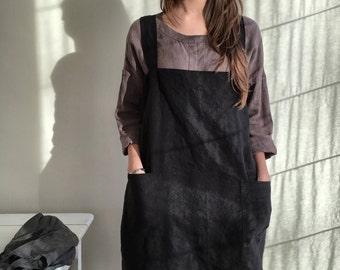 Linen Pinafore Apron, Linen Apron, Dark Pinafore Woman, Square-Cross Apron, no-ties apron, Japanese apron, linen smock, Mothers day gift