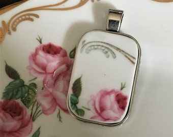 Rectangular Royal Stafford Bridesmaid Broken China Pendant