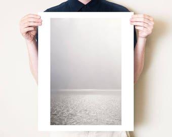 Minimal seascape, Scotland photography print. Neutral monochrome coastal wall art. Minimal fine art ocean photograph. Isle of Mull artwork