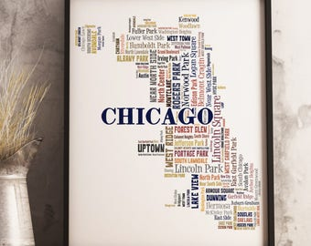 Chicago Map Art, Chicago Art Print, Chicago Neighborhood Map, Chicago Typography Art, Chicago Poster Print, Chicago Word Cloud