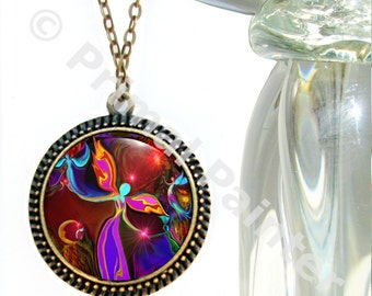 "Chakra Art Necklace, Red Jewelry, Wearable Art Reiki Energy ""Grounding"""