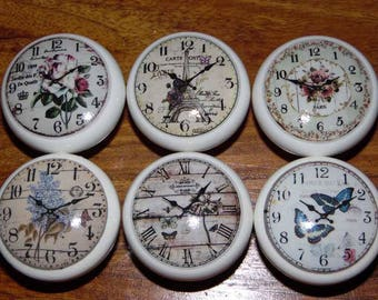 Clocks Limited  Edition set of 6 Vintage Shabby Chic Style Wooden Cabinet Drawer Door KNOBS/HANDLES Porcelain Look set no 46