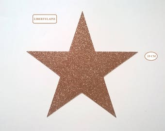 Applied fusible large flex star copper gold glitter