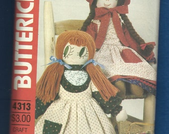 1980s Butterick 4313 Prairie Rag Doll with Big Eyes Bonnets Dresses Pinafore and Bloomers Sizes 17 & 21 Inches Tall UNCUT