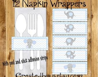 Baby Elephant Napkin wraps Baby boy elephant shower Decorations Baby elephant napkin bands Paper napkin ring holder utensil wraps 12 printed