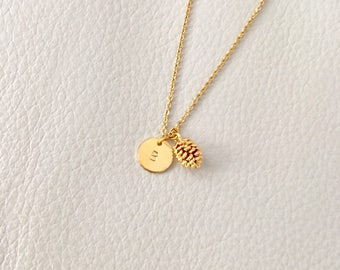 Pine Cone necklace, initial necklace,Pine Cone Pendant, gift idea, bridesmaid gift, gold necklace