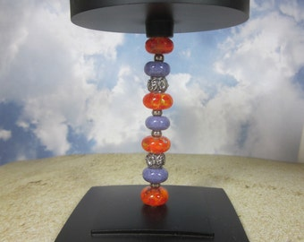 Beaded Candle Holder - Tall, Artisan Lampwork Glass, Hand Crafted, Metal, Unique, Beadable, Decorative, OOAK, SRAJD