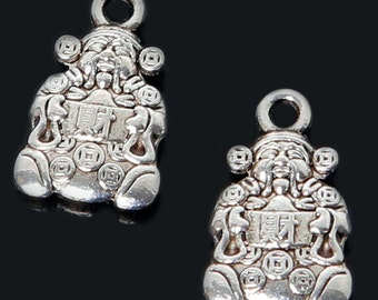 7pcs-silver Chinese God of Wealth charm-Antique silver Mammon charm