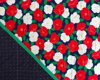 Japanese Camellia Whole Cloth Baby Quilt