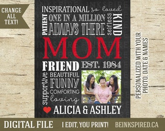 Personalized Mom, Mom Gift, Mum Gift, Gift for Mom, Gift for Mum, Mom Mum Word Art Collage Print, Mother's Mothers Day, DIGITAL FILE