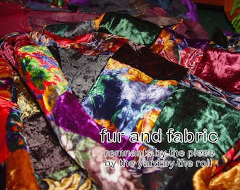 Patchwork Quilt Topper - Fabric Squares - Yardage - Swatches - Remnants - Mixed Solid and Patterns - Victorian Crazy Velvet - Velveteen