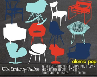 Instant Download // Mid century Modern Chairs// Digital File Photoshop Brushes // Vector Files