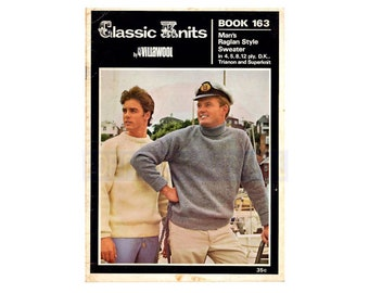 Villawool 163 Man's Knitted 60s Raglan Sweater Instant Download PDF 16 pages